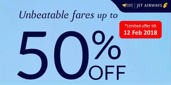 Jet Airways Promotional Fares Up to 50% Off!