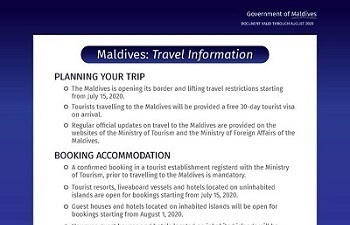 Maldives will re-open for international tourists on 15th July 2020